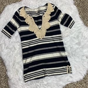 J. Crew Striped Top with beautiful embroidery XXS